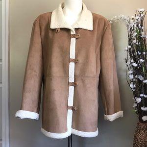 Christopher & Banks Women's Tan Faux Suede Jacket